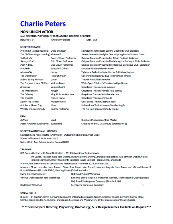 charlie peters acting resume sept 2017 website versionjpg. Resume Example. Resume CV Cover Letter