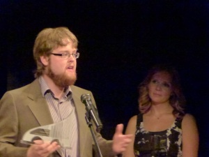 Charlie Peters in accepts the SATAward for Outstanding Emerging Artist 2013