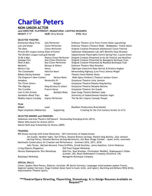 Charlie Peters Acting Resume - Nov 2018 WEBSITE